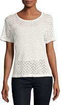 Majestic Paris for Neiman Marcus Linen Eyelet Short-Sleeve Crewneck T-Shirt