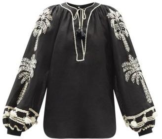 Johanna Ortiz Cursos Del Rio Embroidered Linen-blend Dress - Black