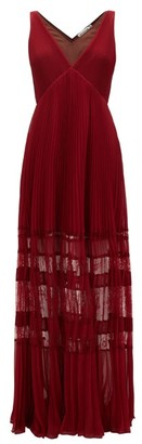 Self-Portrait Lace-insert Plisse Chiffon Maxi Dress - Burgundy