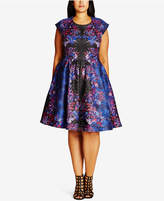 City Chic Trendy Plus Size Brocade Fit & Flare Dress