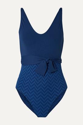 Eres Belted Paneled Seersucker Swimsuit - Navy