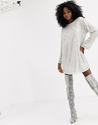 ASOS DESIGN sequin long sleeved mini dress