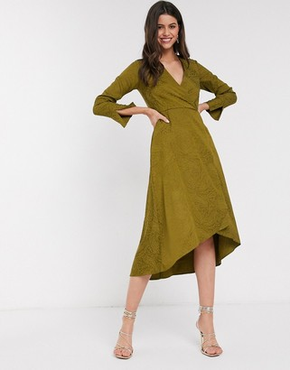 Closet London Closet wrap midi dress in olive green