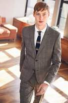 Mens Next Taupe Textured Check Skinny Fit Suit: Jacket - Natural