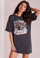 Missguided Printed Graphic Rock Jersey T-Shirt Dress Grey