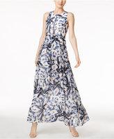 Vince Camuto Palm-Print Chiffon Maxi Dress