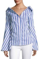 Caroline Constas Persephone Striped Décolleté Shirt, Blue