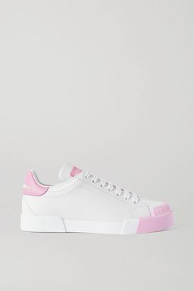Dolce & Gabbana Portofino Logo-print Leather Sneakers - White