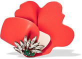 Marni Leather And Crystal Brooch - Papaya