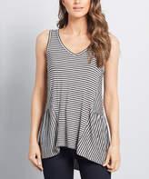 ModCloth Women's Tank Tops - Gray Stripe Ruffle Peplum Tank - Women, Juniors & Plus