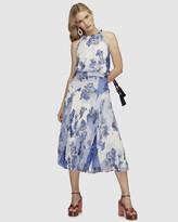 Lover Collage Pleat Midi Dress