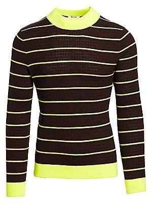 Acne Studios Men's Kadison Neon Stripe Merino Wool Sweater