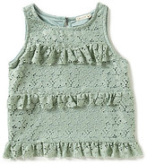 Copper Key Big Girls 7-16 Lace Tiered Ruffled Top