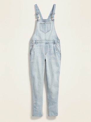 Old Navy Straight Light-Wash Distressed Jean Overalls for Women