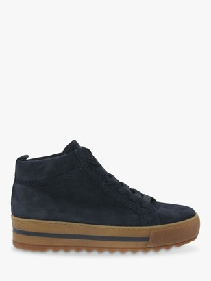 Gabor Vicky Wide Fit Suede Flatform Trainers, Marine