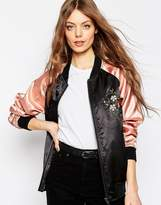 Asos Premium Bomber Jacket with Floral Embroidery