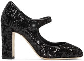 Dolce & Gabbana Black Sequinned Mary Jane Heels