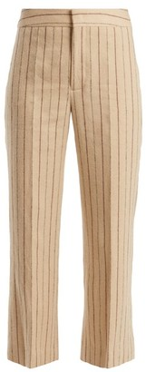 Isabel Marant Keroan Striped Flared Cropped Linen Blend Trousers - Womens - Cream