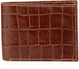 Neiman Marcus Boxed Alligator-Embossed Leather Bifold Wallet, Cognac