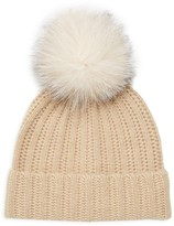 Amicale Fox Fur Pom-Pom Cashmere Beanie