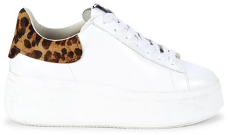Ash Women's Moby Leopard-Print Calf-Hair Trimmed Leather Platform Sneakers