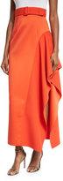 SOLACE London Kaya Draped Satin Skirt, Red-Orange