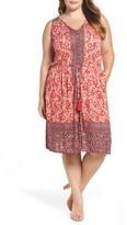 Lucky Brand Plus Size Women's Border Print Drawstring Dress