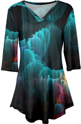 Lily Women's Tunics TEAL - Teal & Pink Abstract Three-Quarter Sleeve V-Neck Tunic - Women & Plus