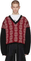 Enfants Riches Deprimes Red and Black Chain Link V-Neck Sweater