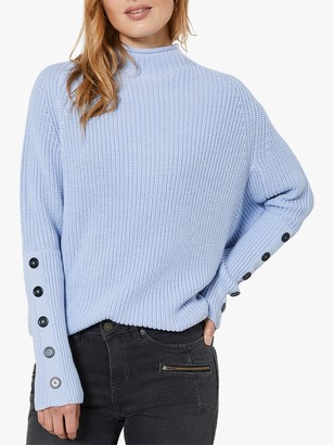 Mint Velvet Chunky Button Sleeve Detail Jumper, Blue