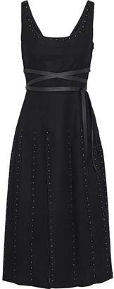 Valentino Crystal-embellished Pleated Tulle-paneled Wool Dress