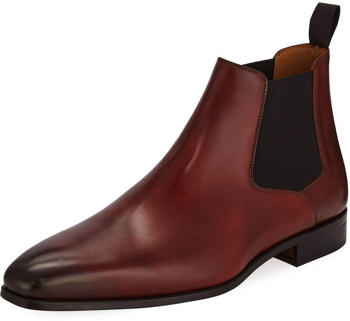 Magnanni Hand Antique Leather Chelsea Boots, Brown