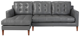 John Lewis Draper LHF Chaise End Leather Sofa, Dark Leg