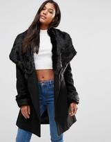 Lipsy Michelle Keegan Loves Luxury Wrap Coat With Faux Fur Trim