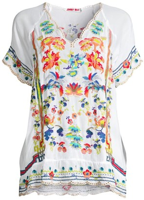 Johnny Was Multicolor Embroidered Top