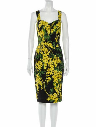 Dolce & Gabbana Floral Print Midi Length Dress Yellow