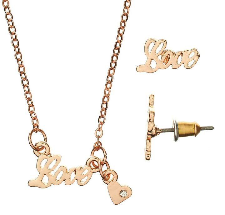 Candies Candie's ® rose gold tone love necklace & stud earring set