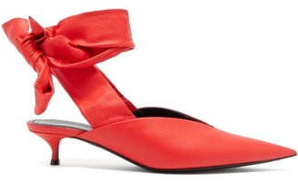 Balenciaga Dance Knife Wrap-around Leather Mules - Womens - Red