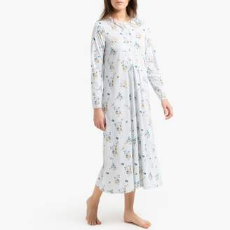 La Redoute Collections Cotton Floral Print Nightdress with Long Sleeves