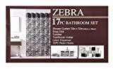 Victoria Classics Bathroom Accessory Set Black and White: Fabric Shower Curtain with Matching Ceramic Shower Hooks/rings. Ceramic Bath Set: Soap Dish, Soap/lotion Dispenser, Tumbler and Toothbrush Holder (Black Zebra)