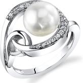 Ice 8.5mm Freshwater Cultured Pearl and Cubic Zirconia Sterling Silver Fashion Ring