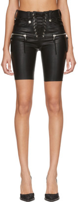 Unravel Black Plonge Leather Corset Shorts