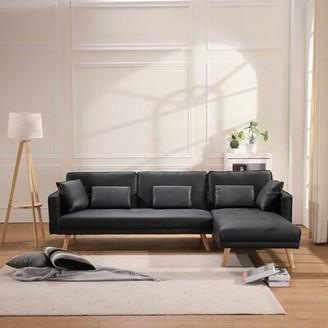 "Corrigan Studioâ® Aracely 70"" Faux Leather Right Hand Facing Sleeper Sofa & Chaise Corrigan StudioA"