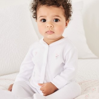 The White Company Bunny Embroidery Sleepsuit, White, 18-24mths