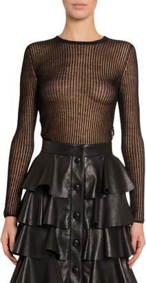 Saint Laurent Semisheer-Striped Linen-Silk Long-Sleeve Top
