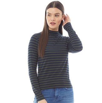 Brave Soul Womens Orion Striped Long Sleeve Top Navy/Green