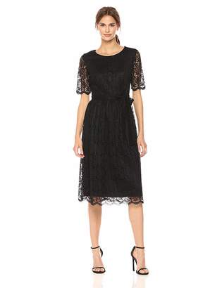 Nine West Women's Short Sleeve Lace Fit and Flare Midi Dress W/Self Sash