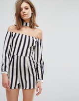 Influence Romper With Choker Neck