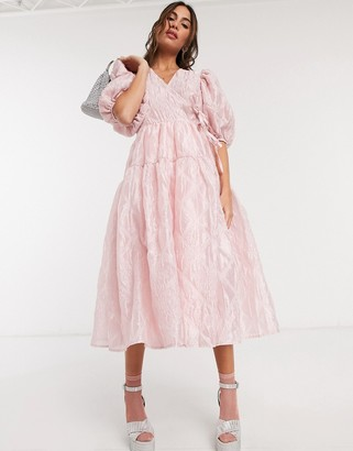 Sister Jane Dream midi wrap dress with full skirt in pretty jacquard