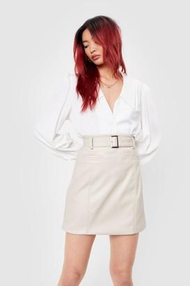 Nasty Gal Womens Belt of My Love Faux Leather Mini Skirt - Cream - S, Cream